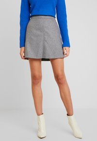 Marc O'Polo - SHORT SKIRT FEMININE CUTLINES - A-line skirt - middle stone melange - 0