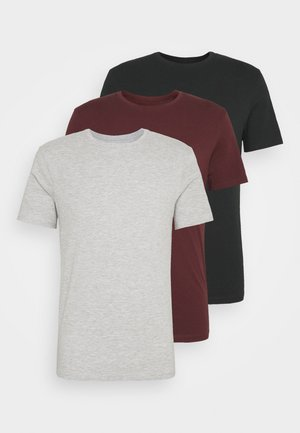 3 PACK - T-shirts basic - black/grey/bordeaux