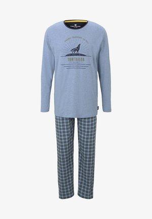 KARO MIT PRINT - Pyjama set - blue-medium-melange