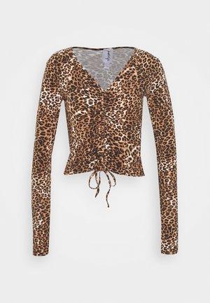 CROPPED TIE - Long sleeved top - black/beige