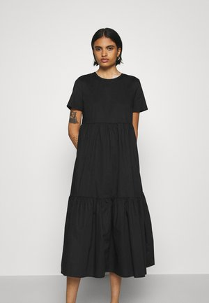 SHORT SLEEVE TIERED MIDI DRESS - Denní šaty - black
