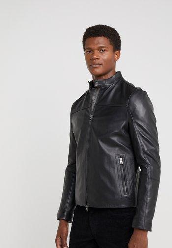 BASIC RACER JACKET - Leather jacket - black