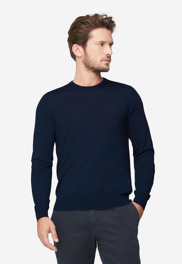RUNDHALS-PULLOVER AUS CASHMERE ULTRALIGHT - Sweatshirt - dark blu mel.