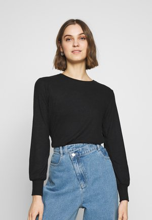 BRUSHED RIB PUFF SLEEVE CUFF - Top s dlouhým rukávem - black