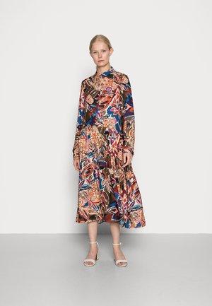 DRESS - Shirt dress - brown/blue/orange