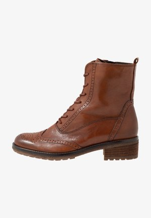 Lace-up ankle boots - whisky