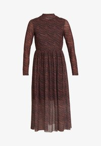 TOM TAILOR DENIM - PRINTED MESH DRESS - Day dress - brown/zebra