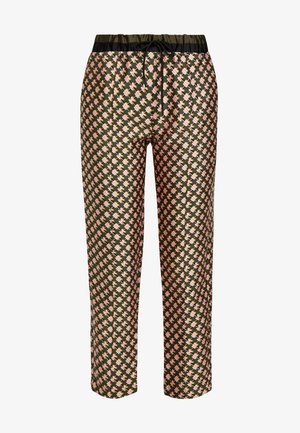 PRINTED PANTS WITH CONTRAST WAISTBAND - Bukse - dark blue