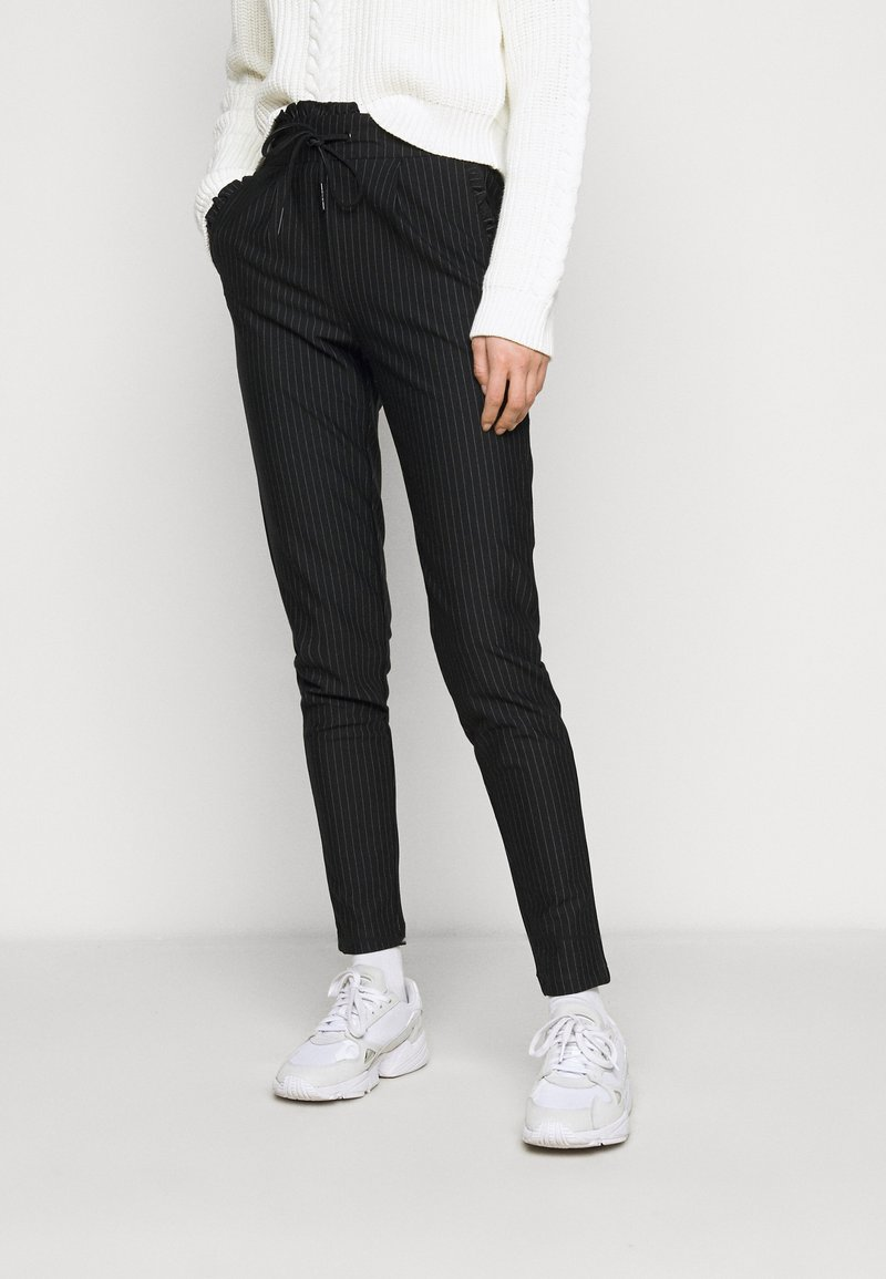 ONLY Tall - ONLPOPTRASH PINSTRIPE FRILL PANT - Trousers - black/white