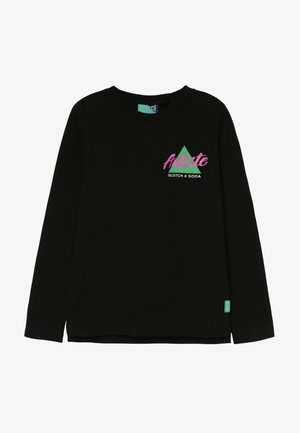 LONG SLEEVE TEE WITH COLOURFUL ARTWORK - Long sleeved top - black