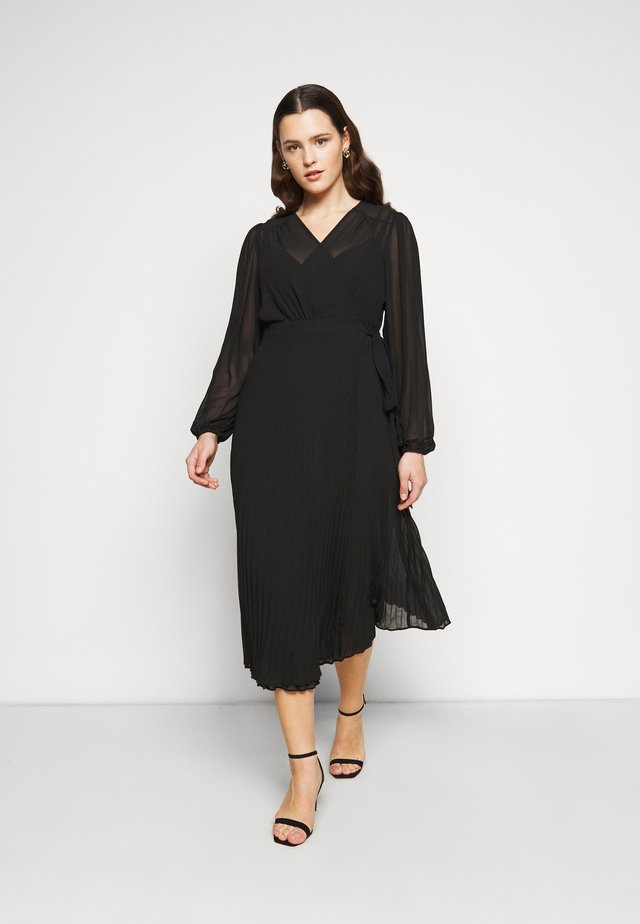 PENELOPE PLEATED WRAP DRESS - Vapaa-ajan mekko - black
