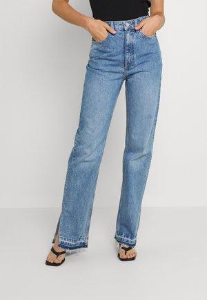 ROWE RAW SPLIT - Jeans straight leg - hanson blue