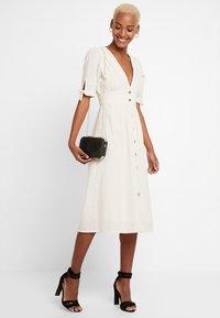 Vero Moda - VMMILA CALF DRESS - Shirt dress - snow white/oatmeal - 2