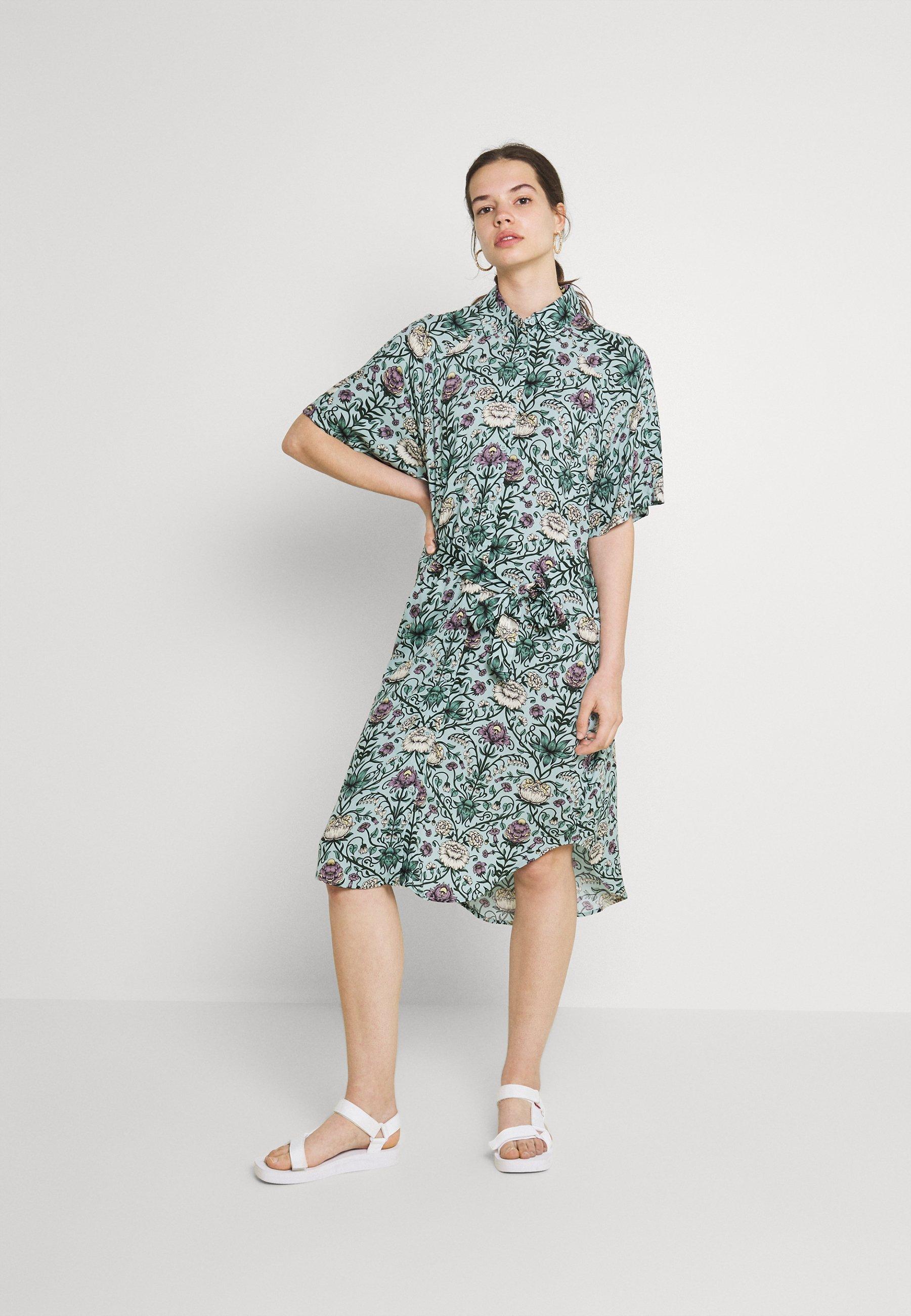 Donna Abito a camicia - green