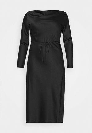 MIDAXI DRESS WITH LONG SLEEVES COWL NECK FRONT AND BACK TIE - Koktejlové šaty/ šaty na párty - black