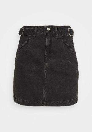 BUCKLE SKIRT - Spódnica mini - washed black