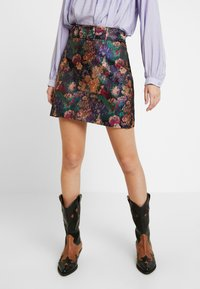 Lost Ink - BELTED SKIRT - A-linjekjol - multi/black - 0