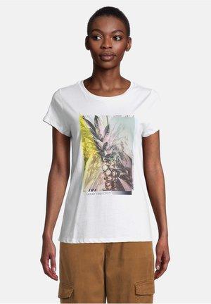 Print T-shirt - white/khaki