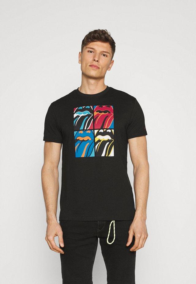ROLLING LENGUA NEGRA - T-shirts med print - black