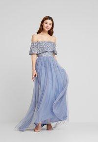 Maya Deluxe - OVERSIZED BARDOT HIGH LOW DRESS - Occasion wear - dusty blue - 0