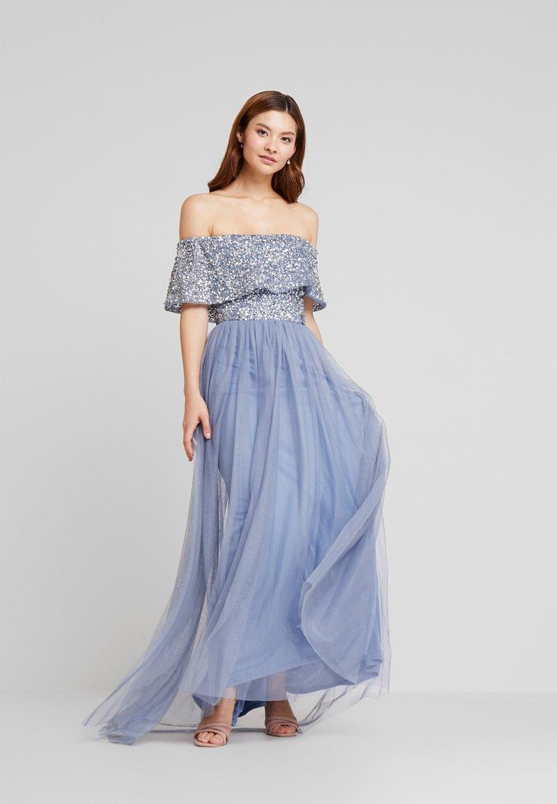 Maya Deluxe - OVERSIZED BARDOT HIGH LOW DRESS - Occasion wear - dusty blue