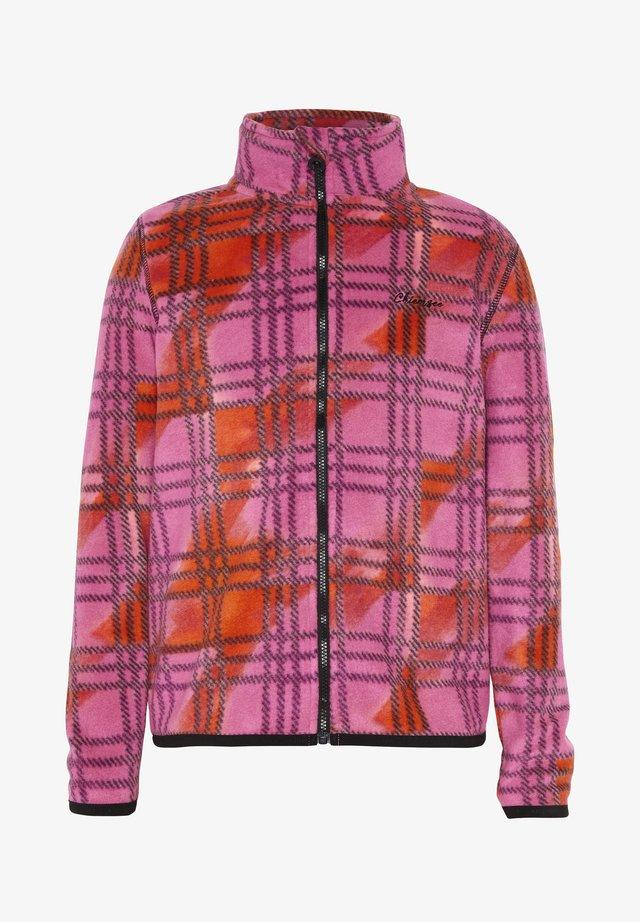 MIT ALLOVERPRINT - Fleece jacket - pink/orange chk