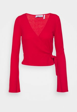WRAP FRONT RIBBED LONG SLEEVE - Long sleeved top - scarlet red