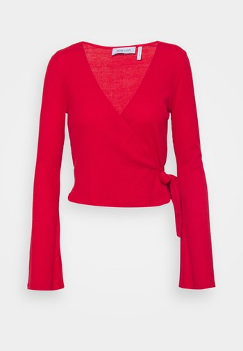 WRAP FRONT RIBBED LONG SLEEVE