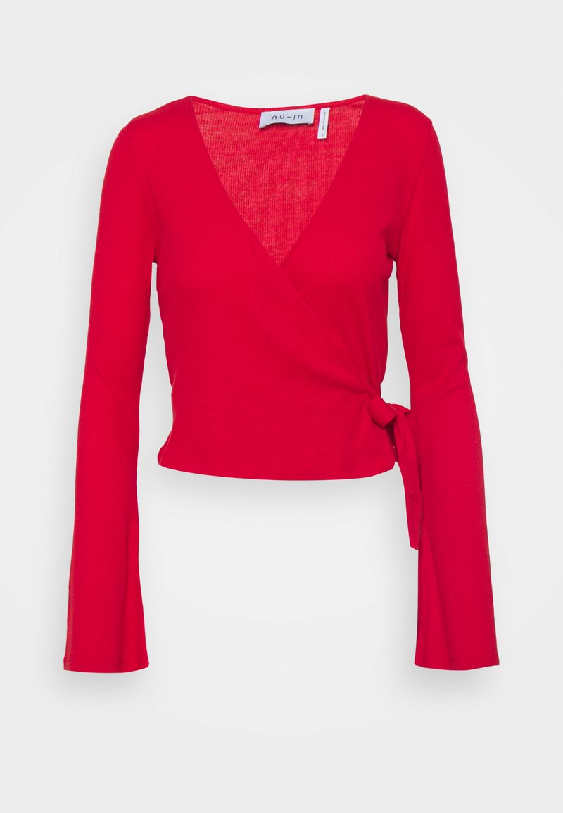NU-IN - WRAP FRONT RIBBED LONG SLEEVE - Long sleeved top - scarlet red