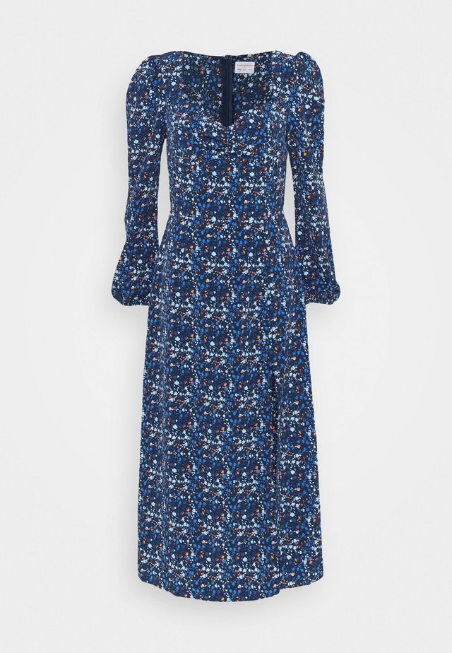 LADIES DRESS FLORAL - Robe d'été - navy blue/orange