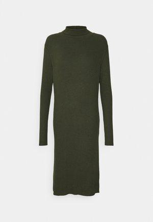 MOCK SLIM DRESS - Gebreide jurk - dark bronze green