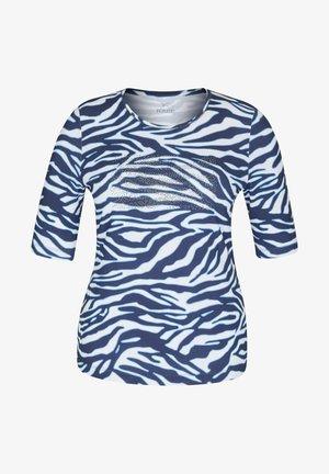 MIT ANIMAL-PRINT UND STRASS-STEINEN - Print T-shirt - dunkelblau