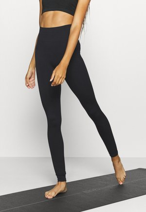 SEAMLESS HIGH WAIST TEXTURED - Leggings - black