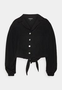 Simply Be - TIE FRONT BUTTON THROUGH BLOUSE - Button-down blouse - black - 4