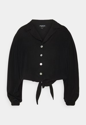 TIE FRONT BUTTON THROUGH BLOUSE - Button-down blouse - black