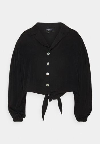 TIE FRONT BUTTON THROUGH BLOUSE - Camicia - black