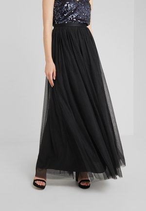 DOTTED MAXI SKIRT - Plisovaná sukně - ballet black