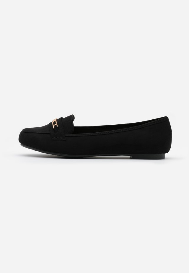 WIDE FIT LAFFLE TRIM - Slippers - black