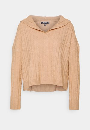 SLOUCHY CABLE HOODIE - Sweter - tan