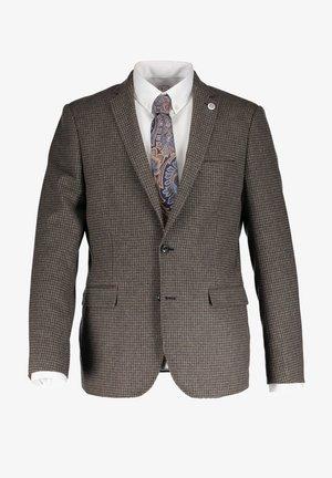MODERN CLASSICS CHECKED - Blazer jacket - mid grey/dark brown