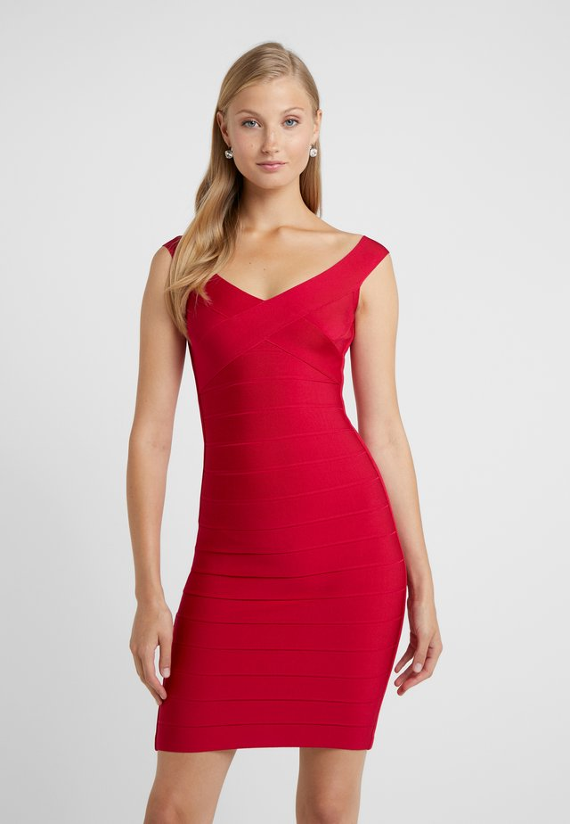 V NECK BANDAGE DRESS - Tubino - dark crimson