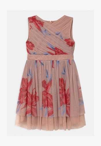 CONTRAST PRINT WITH WAISTBAND - Cocktailjurk - pink