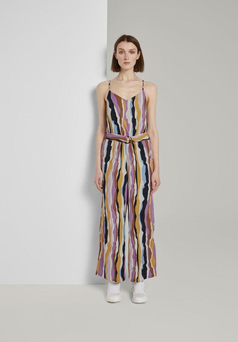 TOM TAILOR DENIM - OVERALLS STREIFENMUSTER - Jumpsuit - wavy multicolor stripes