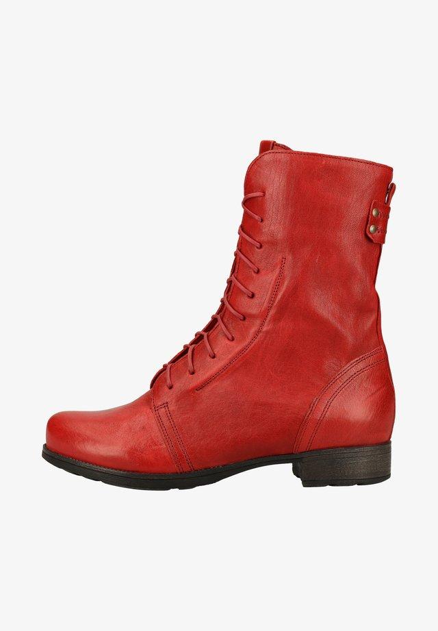 Platform ankle boots - cherry