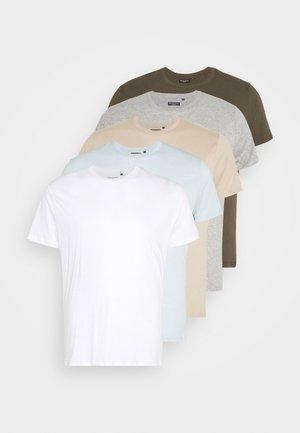 HARRISB 5 PACK - Basic T-shirt - white/khaki/lt grey marl/stone/baby blue