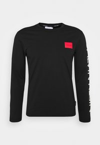 TEXT REVERSED LOGO - Long sleeved top - black