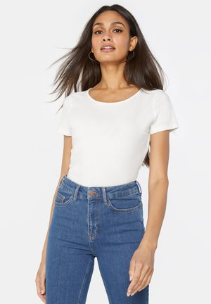 WE FASHION DAMEN-T-SHIRT AUS BIO-BAUMWOLLE - T-shirt basic - ecru