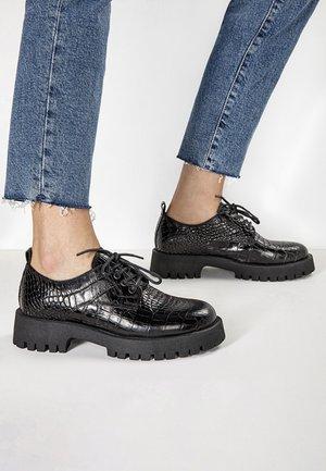 Lace-ups - black croco obl