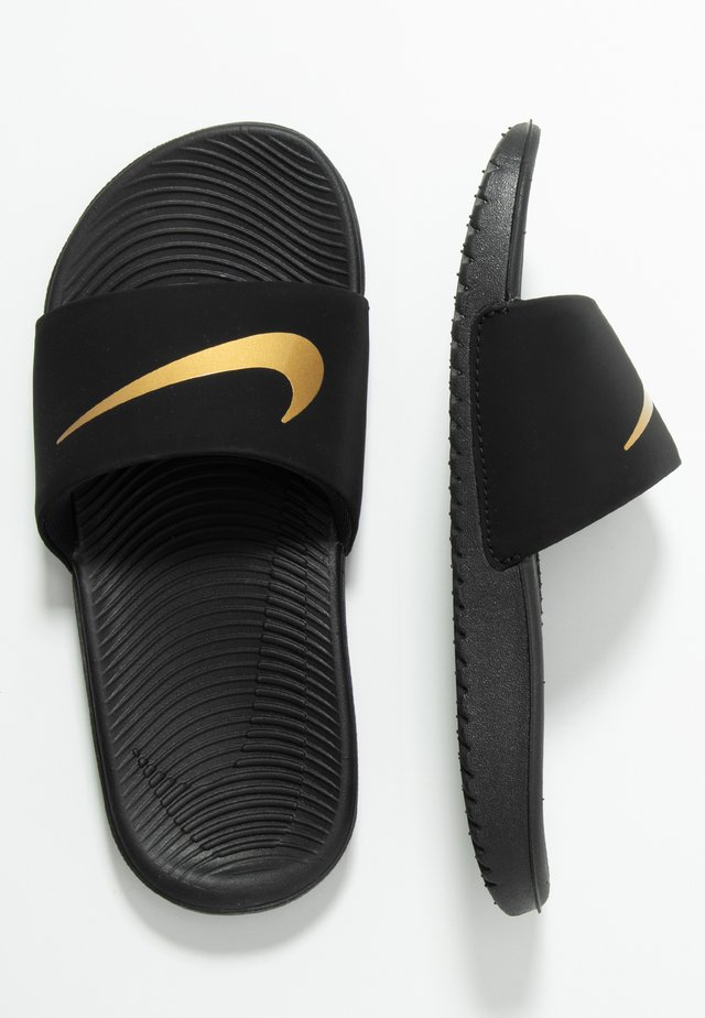 KAWA SLIDE UNISEX - Chanclas de baño - black/metallic gold