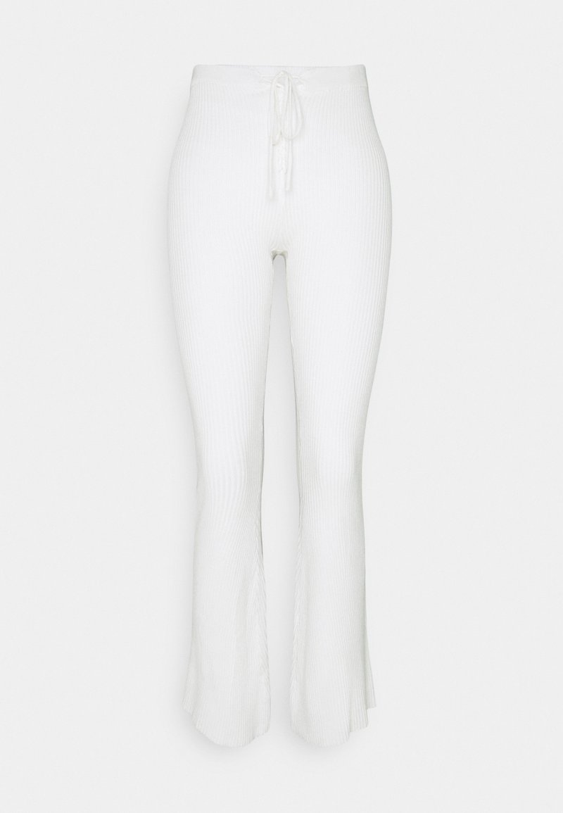 Missguided - LACE UP DETAIL FLARES - Trousers - white